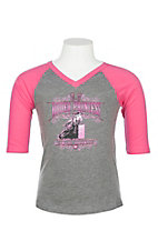 Cowgirl Hardware Girls' Pink and Grey Rodeo Princess Shirt