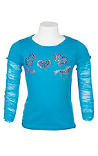 Cowgirl Hardware Girls' Blue Horse and Heart Long Sleeve Shirt