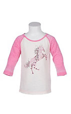 Cowgirl Hardware Girls Toddler Basic Raglan Fire House Pink T-Shirt
