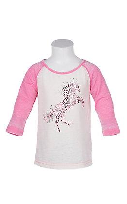 Cowgirl Hardware Girls Toddler Basic Raglan Fire House Pink T-Shirt