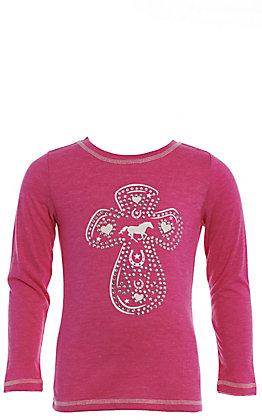 Cowgirl Hardware Pink Rhinestone Cross Long Sleeve T-Shirt
