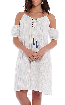 Hem & Thread White With Navy Print Off The Shoulder Dress