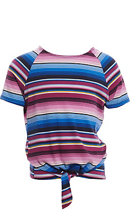 Jody Girls' Serape Stripe Tie Front Fashion Top