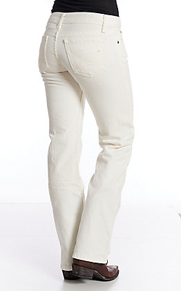 Cinch Women's Mid Rise Cream Relaxed Fit Boot Cut Jeans