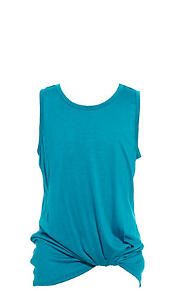 Jody Girls' Teal Basic Knotted Tank