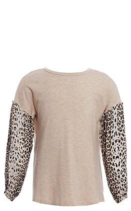 Jody Girls' Khaki & Leopard Long Sleeve Fashion Top