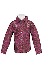 Cowgirl Hardware Hot Pink & Brown Zebra with Rhinestone Yokes Long Sleeve Western Shirt- 12M to 4T