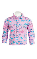 Cowgirl Hardware Girl's Pink Horse Print Long Sleeve Western Snap Shirt