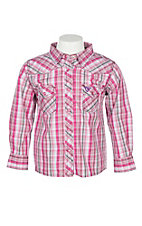 Cowgirl Hardware Girls' Pink Sunset Long Sleeve Plaid Western Snap Shirt
