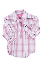 Cowgirl Hardware Infant Pink Summer Plaid Western Onesie