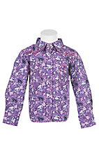 Cowgirl Hardware Girl's Toddler Purple & Pink Paisley Print with Rhinestuds Long Sleeve Western Shirt