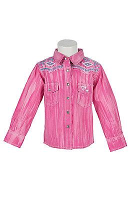 Cowgirl Hardware Toddlers Brush Dye Long Sleeve Rhinestone Snap Western Shirt