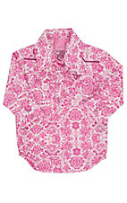 Cowgirl Hardware Infants Pink Peacock Long Sleeve Western Snap Shirt Onesie