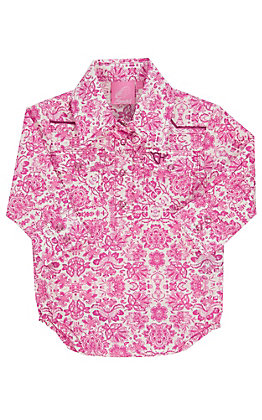 Cowgirl Hardware Infants Pink Peacock Long Sleeve Western Snap Shirt Onesie