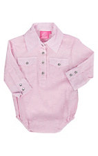 Cowgirl Hardware Girl's Infant Pink with Dots and Lurex Long Sleeves Western Onesie