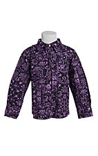 Cowgirl Hardware Toddler Girl's Purple Peacock Long Sleeve Western Snap Shirt