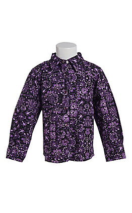 Cowgirl Hardware Toddler Girls' Purple Peacock Long Sleeve Western Snap Shirt