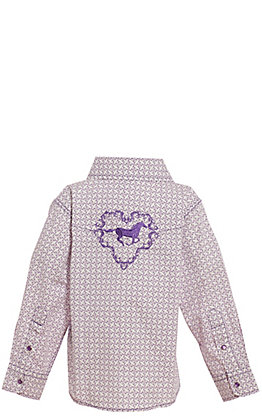 Cowgirl Hardware Toddlers' White and Purple Diamond Print with Horse Long Sleeve Western Shirt