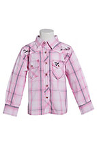 Cowgirl Hardware Toddler's Girls Pink Plaid Long Sleeve Western Shirt