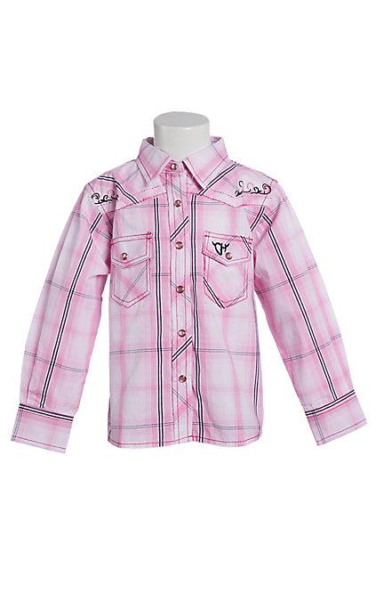 a36b2371 Cowgirl Hardware Toddler Girls' Pink Plaid Long Sleeve Western Shirt