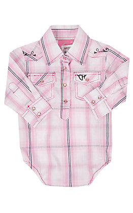 Cowgirl Hardware Infants Long Sleeve Pink Plaid Onesie