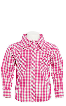 Cowgirl Hardware Girls' Toddlers Checkered Pink & White Floral Horse Long Sleeve Western Shirt