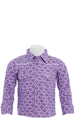 Cowgirl Hardware Girls' Toddlers Purple Leaf Print with Cactus Long Sleeve Western Shirt