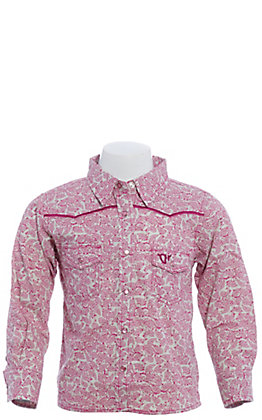 Cowgirl Hardware Girls' Toddlers Pink & White Paisley with Horses Long Sleeve Western Shirt