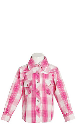 Cowgirl Hardware Girls' Pink and White Plaid with Horse Long Sleeve Western Shirt
