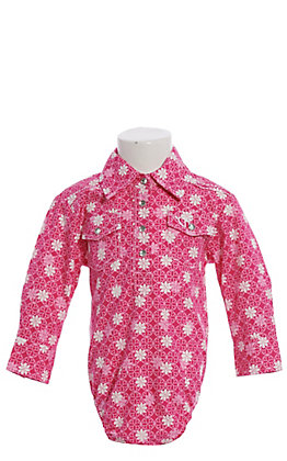 Cowgirl Hardware Girls Infant Pink with White Flowers Long Sleeve Western Onesie