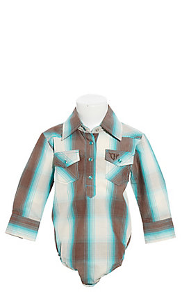 Cowgirl Hardware Turquoise, Brown and White Plaid with Horse Embroidery Long Sleeve Onesie
