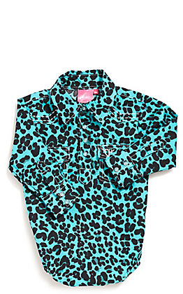 Cowgirl Hardware Toddler Girls Turquoise Leopard Print Long Sleeve Wester Shirt Onesie
