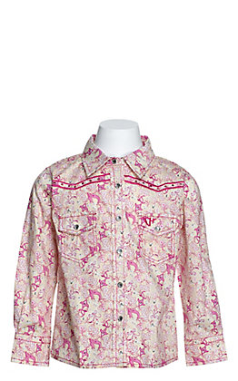 Cowgirl Hardware Toddlers' Cream with Pink Country Floral Print Long Sleeve Western Shirt