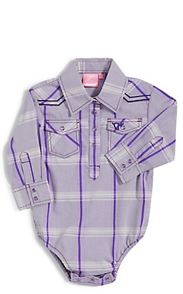 Cowgirl Hardware Girls' Purple Plaid with Horse Embroidery Long Sleeve Western Onesie