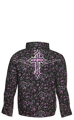 Cowgirl Hardware Girl's Black and Purple Embroidered Cross Long Sleeve Western Shirt