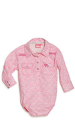 Cowgirl Hardware Toddler's Pink Bramble Print Long Sleeve Western Onesie