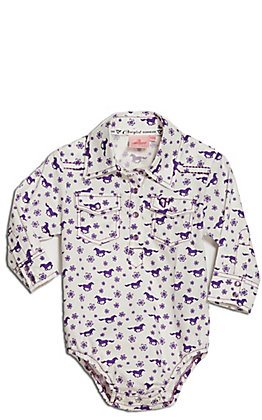 Cowgirl Hardware Toddler Girl's White and Purple Daisy Rider Print Long Sleeve Western Onesie