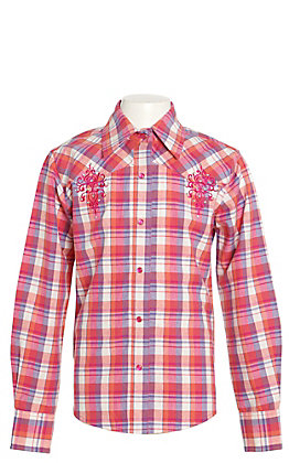 Lore Mae Girls Pink and Blue Plaid with Pink Embroidery Long Sleeve Western Shirt