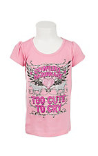 Cowgirl Hardware Youth Pink Too Cute To Cry Short Sleeve Casual Shirt