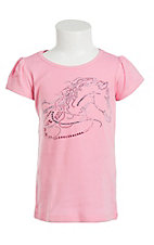 Cowgirl Hardware Girl's Pink with Rhineston Horse Design Short Sleeve T-Shirt