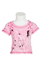 Cowgirl Hardware Girl's Pink Tie Dye with Horse on Front Short Sleeve T-Shirt