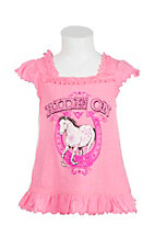 Cowgirl Hardware Girl's Pink with Ride On Screen Print Cap Sleeve Casual Knit Shirt