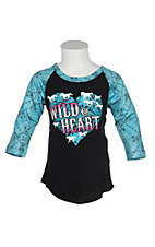 Cowgirl Hardware Girls Turquoise Wild at Heart Raglan Sleeve Shirt