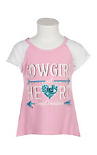 Cowgirl Hardware Girls Pink Cowgirl at Heart Lace Sleeve Shirt