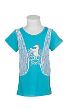 Cowgirl Hardware Turquoise Filigree Horse w/ Lace Vest S/S Shirt