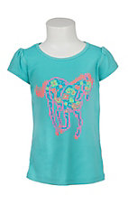 Cowgirl Hardware Girl's Caribbean Blue Neon Horse S/S Shirt