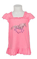 Cowgirl Hardware Girl's Pink Jeweled Horse Ruffle Shirt