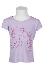 Cowgirl Hardware Girl's Lavender Studded Horse Graphic S/S T-Shirt