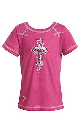Cowgirl Hardware Hot Pink Cross Short Sleeve T-Shirt