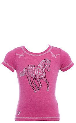 Cowgirl Hardware Girls' Toddler Pink Crystal Sugar Horse Short Sleeve Tee